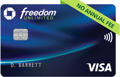 Chase Freedom Unlimited Card. NO ANNUAL FEE. Contactless icon. VISA