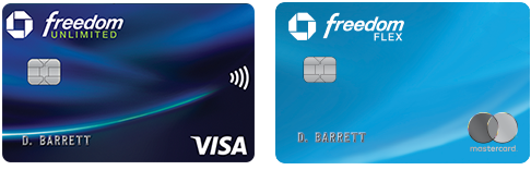 Chase Freedom Unlimited (Registered Trademark) credit card. Chase Freedom Flex(Service Trademark) credit card