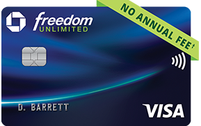 Chase Freedom Unlimited (Registered Trademark) credit card. NO ANNUAL FEE (dagger).