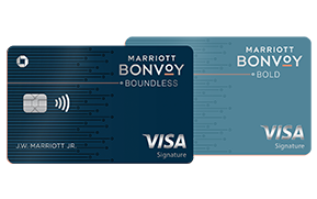 Marriott Bonvoy Boundless(Trademark) credit card. Marriott Bonvoy Bold(Trademark) credit card.