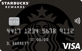 Clickable card art links to Starbucks Rewards (Trademark) Visa (Registered Trademark) Card product page