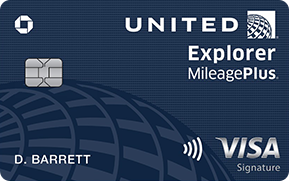 Clickable card art links to United (Service Mark) Explorer Card product page
