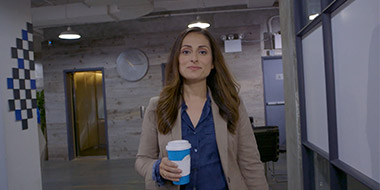Farnoosh wearing a blue shirt
