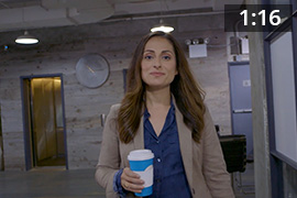 Farnoosh wearing a blue shirt. Play button. 01:16