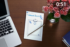 Desk with laptop Slate notepad and roses - 0:51