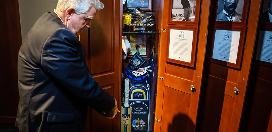 Colin Montgomerie standing in front of a golf locker