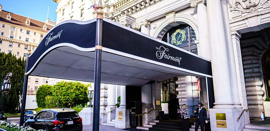 Exterior front entrance of Fairmont Hotel