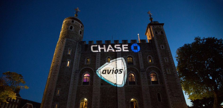 Tower of London with Chase logo projected on side