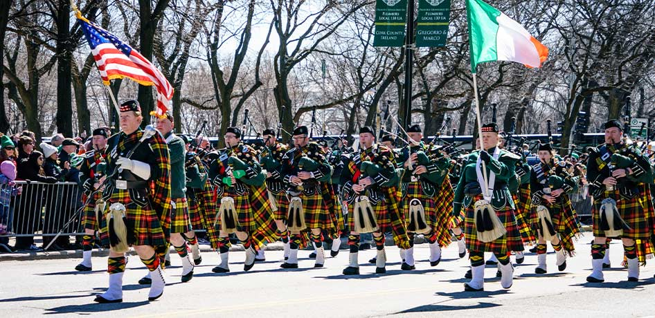 Men marching in St. Patrick's Day Parade