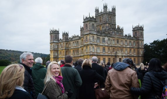 Guests in front of Highclere Castle