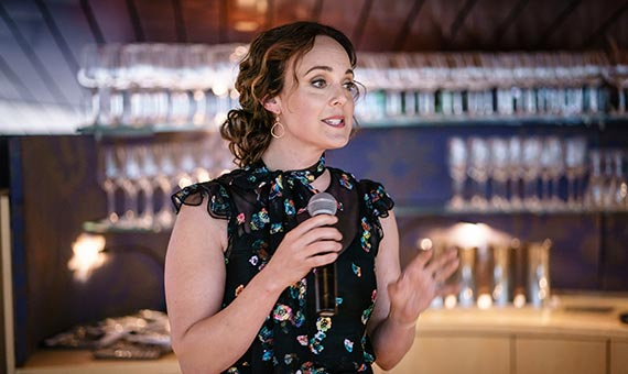 Actress Melissa Errico speaking at event