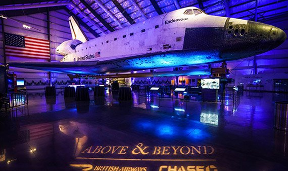 Space Shuttle Endeavor with Above & Beyond logo in lights