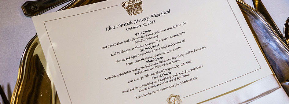 Chase British Airways Visa Card Dinner Menu