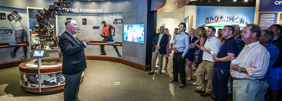 Dr. Tony Parker providing a guided tour of the World Golf Hall of Fame