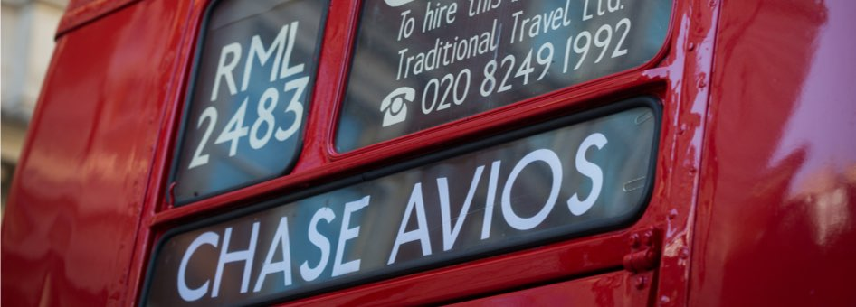 Red bus showing Chase Avios sign
