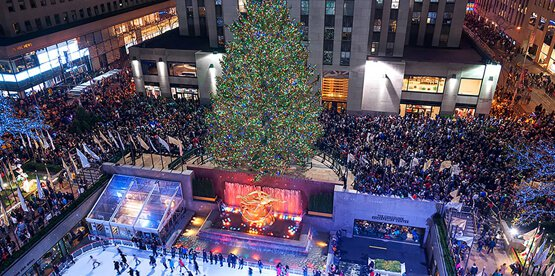 Rockefeller Center with Christmas tree and crowd