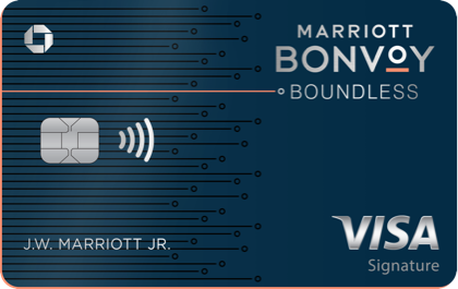 MARRIOTT BONVOY BOUNDLESS Credit Card. Contactless icon. VISA Signature.